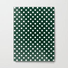 Small Polka Dots - White on Deep Green Metal Print