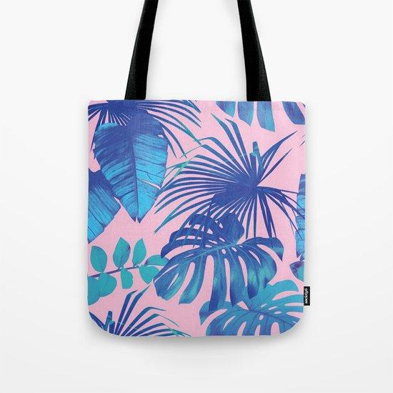 tropical leaf pattern pink  Tote Bag
