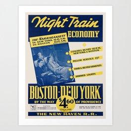 Vintage poster - Night Train Economy Art Print