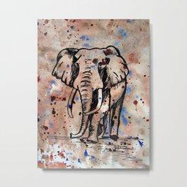 Eager Elephant Metal Print