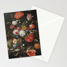 Jan Davidsz de Heem - Flower Still Life with a Bowl of Fruit and Oysters (c.1665) Stationery Cards