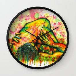 Erotic Spring - love lovers relationship nude colorful illustration art erotic art couple sex sexual Wall Clock