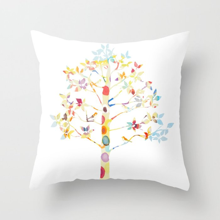 Color Tree Throw Pillow