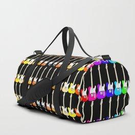 Electric Guitar Rainbow (On Black) Duffle Bag