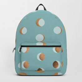 The Lunar Cycle • Phases of the Moon – Copper & Robin's Egg Blue Palette Backpack