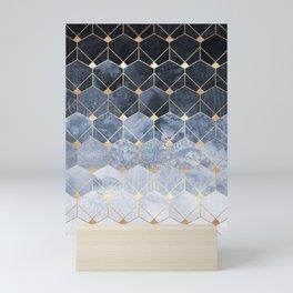 Blue Hexagons And Diamonds Mini Art Print