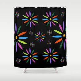 Flower Art in Multicolor - Black Shower Curtain