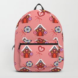 Gingerbread houses, colorful sweet lollipops. Retro vintage cozy snug Christmas pattern Backpack
