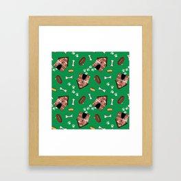 Dog Paradise in Green Framed Art Print