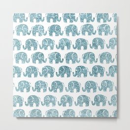 Cute teal blue gradient glitter marble elephant pattern Metal Print