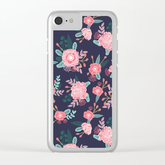 Peony floral bouquet navy pink bright happy flowers dorm college office decor must have pattern Clear iPhone Case