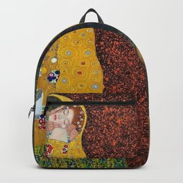 The Kiss & The Girl Who Lost Everything collage by Gustav Klimt and John Bauer portrait painting Backpack