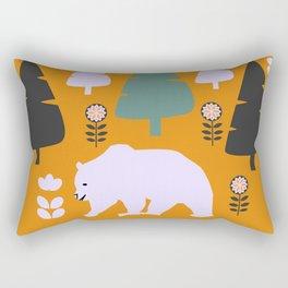 Bear walking between flowers and pine trees Rectangular Pillow