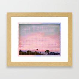 Plaid Landscape Tranquil Sunset Framed Art Print