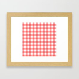 Red gingham fabric cloth, seamless pattern Framed Art Print