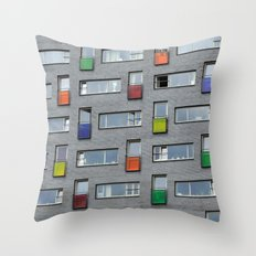 Coloured doors Throw Pillow
