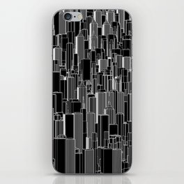 Tall city B&W inverted / Lineart city pattern iPhone Skin