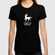 I WANT TO BELIEVE - Unicorn Womens Fitted Tee Black LARGE