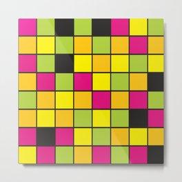 Bright neon colors square pattern Metal Print