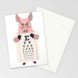 Pig with glasses and eye test Stationery Cards