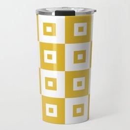 Retro Mid Century Modern Square Pattern Mustard Yellow Travel Mug
