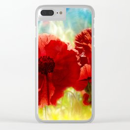 Sun Baked Poppies Clear iPhone Case