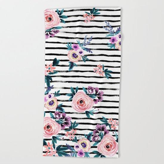 Victoria Floral Stripe Beach Towel