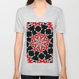 Bizarre Red Black and White Pattern 2 Unisex V-Neck
