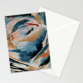 Drift 6: a bold mixed media piece in blues, brown, pink and red Stationery Cards