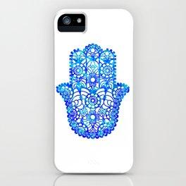 Blue Watercolor Hamsa iPhone Case
