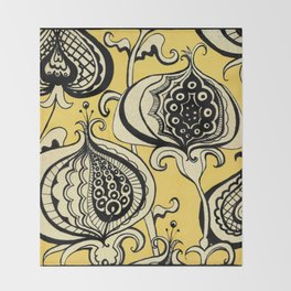 Black and Yellow Floral Throw Blanket