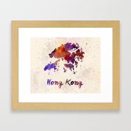 Hong Kong in watercolor Framed Art Print