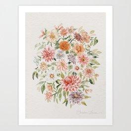 Loose Peachy Dahlia Watercolor Bouquet Art Print