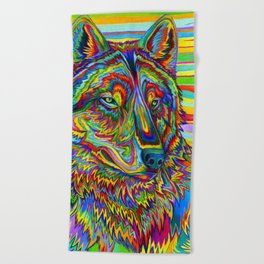 Colorful Psychedelic Rainbow Wolf Beach Towel