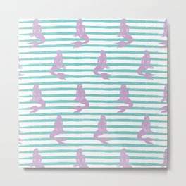 Mermaid & Stripes Pattern - Lavender / Aqua Metal Print