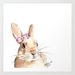 Bunny with a Pink Hair Bow. Watercolor Painting Art Print