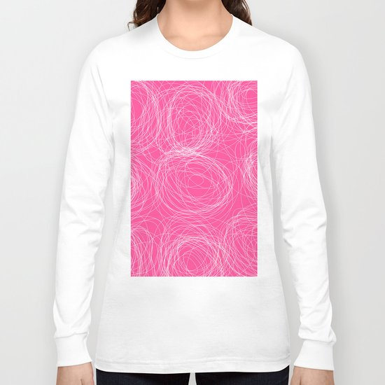 Abstract white circles and dots - abstract pattern - on pink Long Sleeve T-shirt
