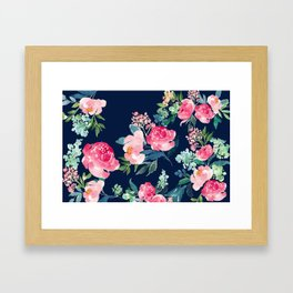 Navy and Pink Watercolor Peony Framed Art Print