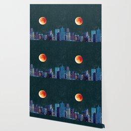 Blood Moon over Denver Colorado Skyline Wallpaper