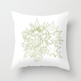 Leaf Mix Green Throw Pillow