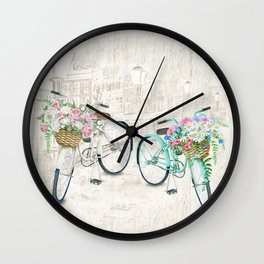 Vintage Bicycles With a City Background Wall Clock