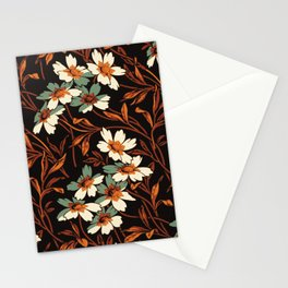 White gothic flowers Stationery Cards