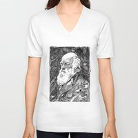 darwin V-neck T-shirts featuring 'Darwin' by Sarah King by We Are West Coast