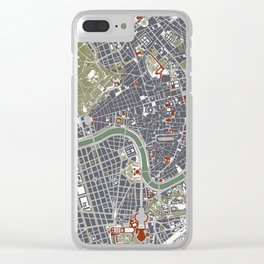 Rome city map engraving Clear iPhone Case