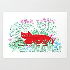 The Garden Cat Art Print