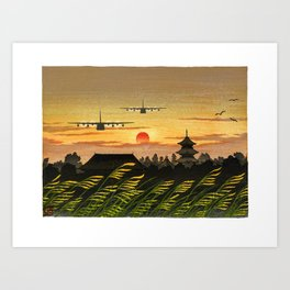 KC-130J Formation Flying into the Sunset Art Print