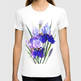 Garden Irises, Blue Purple Floral Design T-shirt
