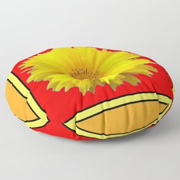 DECORATIVE RED COREOPSIS MODERN ART Floor Pillow