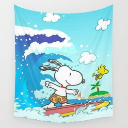snoopy surfing Wall Tapestry