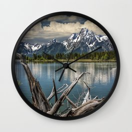 Tree Stump on the Northern Shore of Jackson Lake at Grand Teton National Park Wall Clock